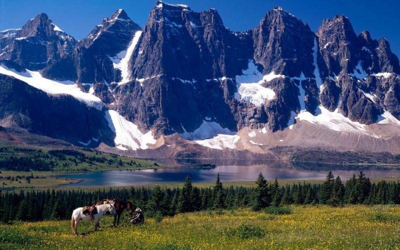 mountain river snow horse mood cowboy f wallpaper