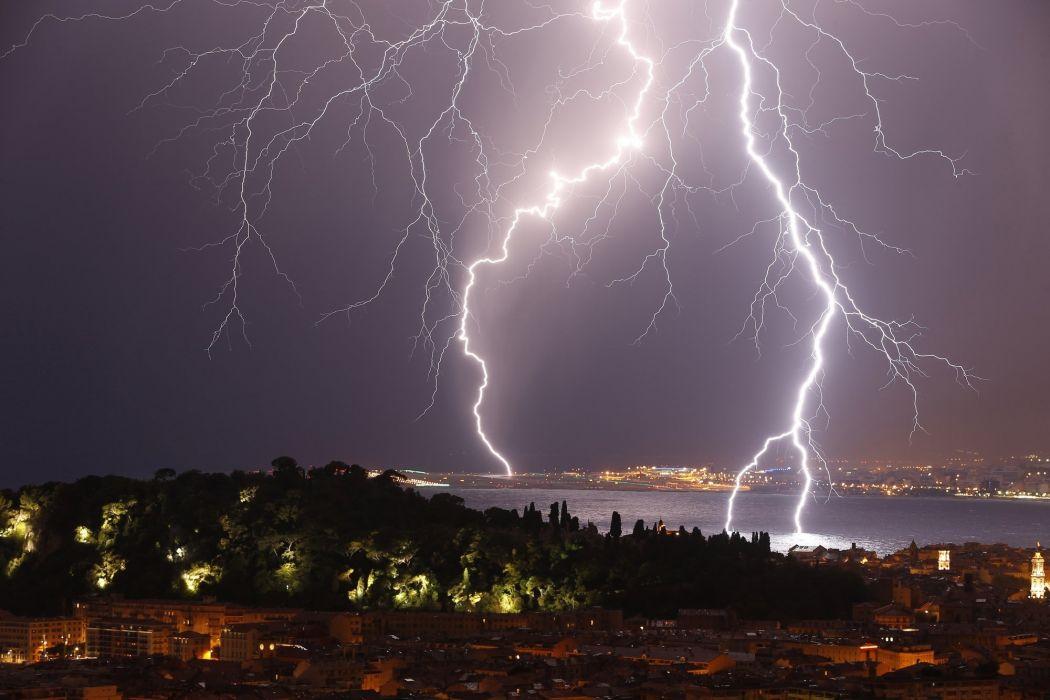 night city storm lightning     f wallpaper