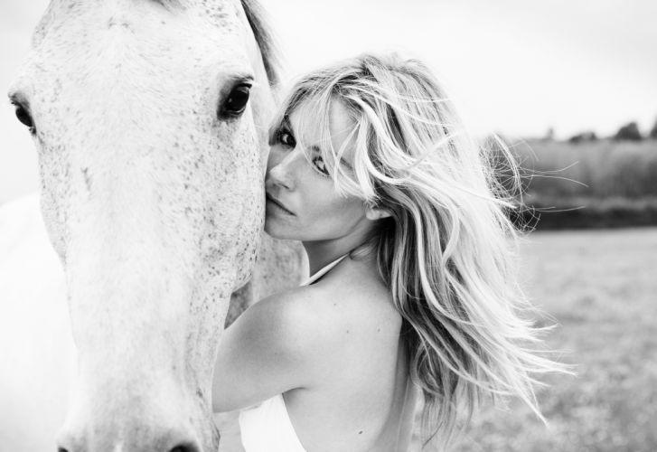 Sienna Miller girl horse portrait actress blonde mood f wallpaper