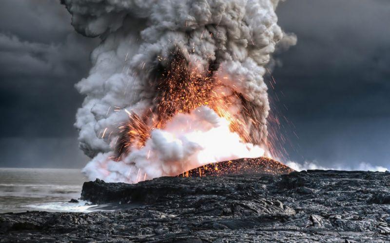 volcano eruption smoke sparks lava fire h wallpaper