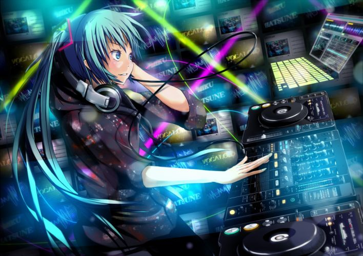 headphones music Vocaloid multicolor Hatsune Miku long hair twintails aqua eyes aqua hair DJ anime girls Platinum wallpaper