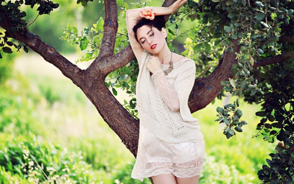 brunettes women models Morel Kdoshim wallpaper