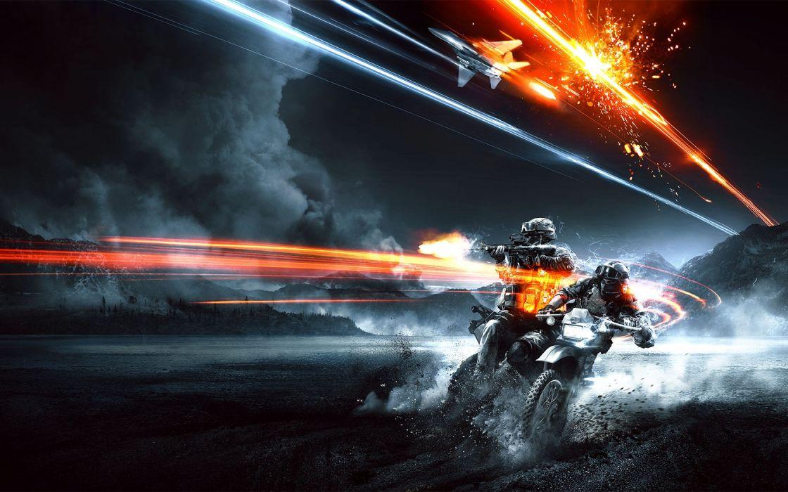 light video games blue guns smoke Battlefield 3 shooting dirtbike game End Game wallpaper
