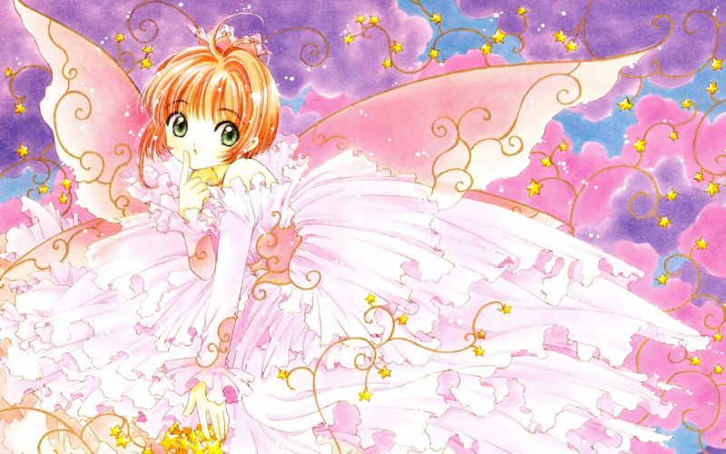 card captor sakura brown hair card captor sakura clamp dress green eyes kinomoto sakura wings wallpaper