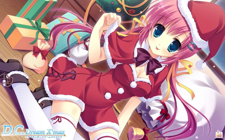 da-capo christmas cleavage da capo da capo dream x'mas hat pink hair tagme thighhighs wallpaper