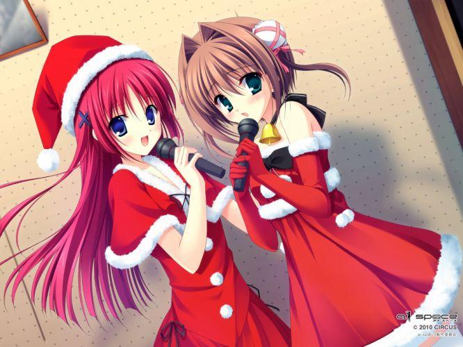 da-capo girls asakura yume christmas da capo da capo ii santa costume santa hat shirakawa kotori tanihara natsuki wallpaper