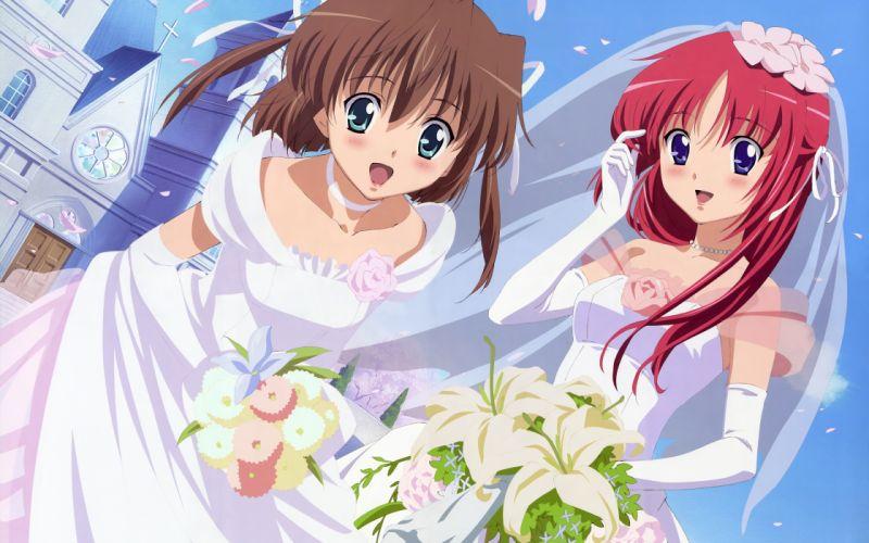 da-capo girls asakura nemu da capo shirakawa kotori wedding wedding dress wallpaper