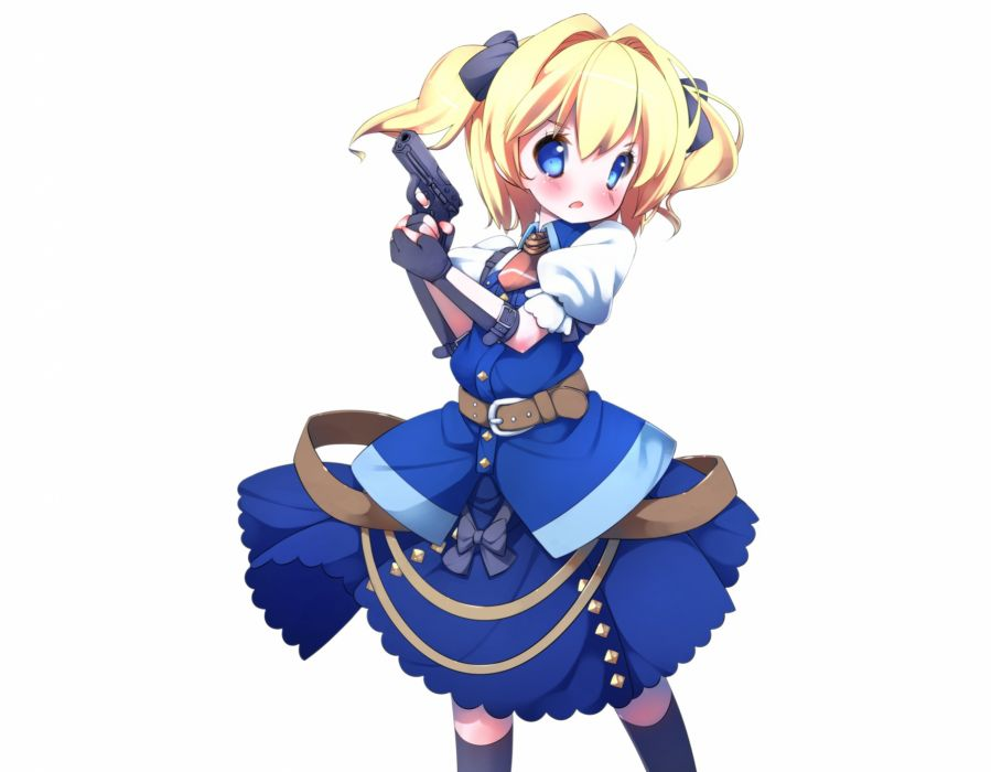 etrian odyssey blonde hair blue eyes blush bow etrian odyssey gloves gun kneehighs sefa sekaiju no meikyuu short hair tagme (character) twintails weapon white wallpaper