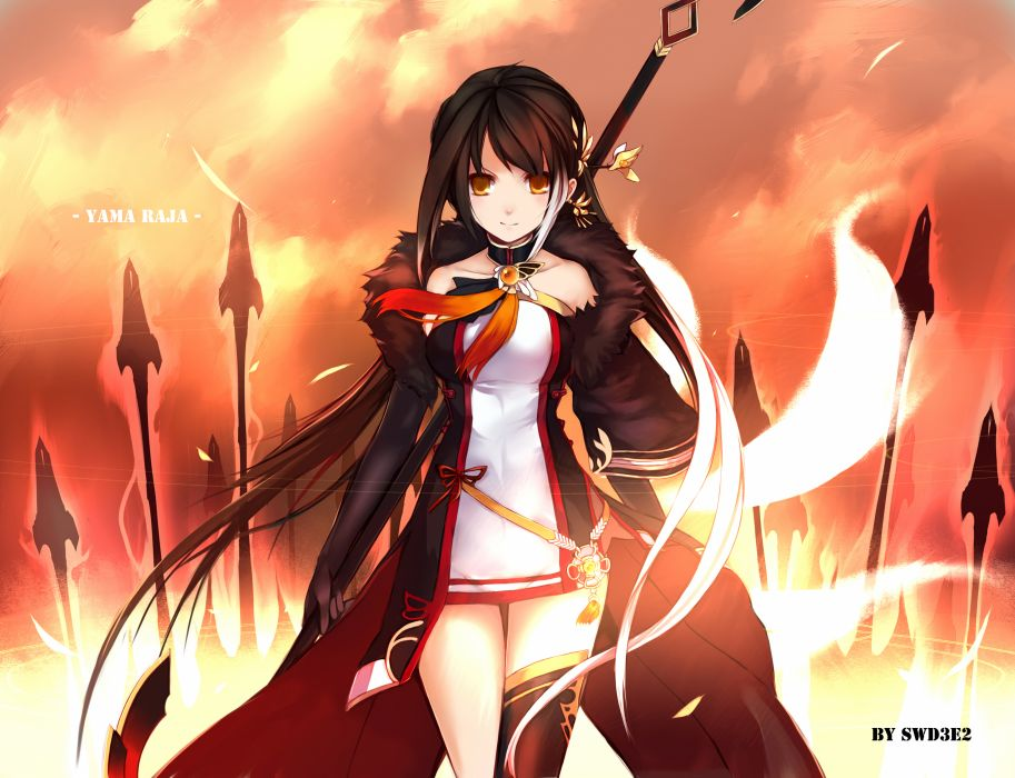 elsword ara black hair choker dress elsword long hair swd3e2 thighhighs watermark weapon yellow eyes wallpaper