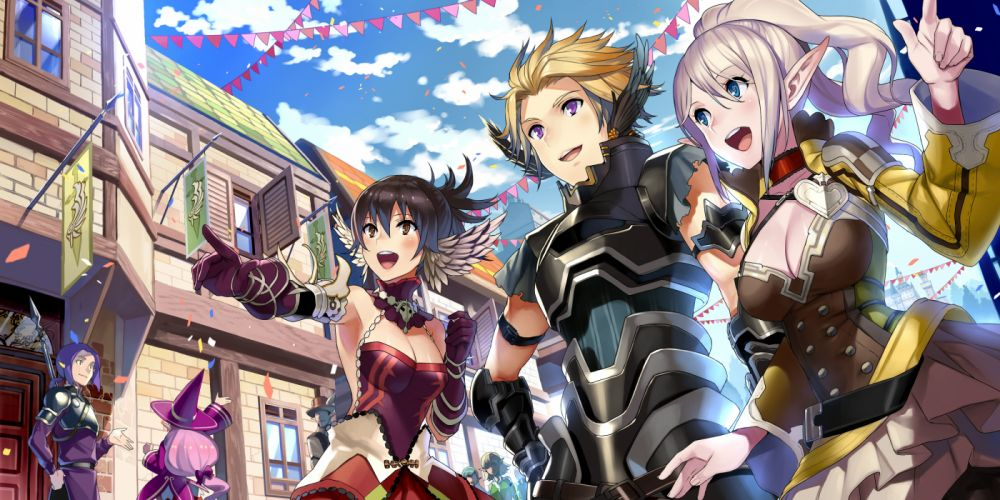 fantasy earth zero armor blue eyes blue hair blush bow building choker cleavage clouds gloves group hat long hair pink hair ponytail spear weapon wings witch hat wallpaper