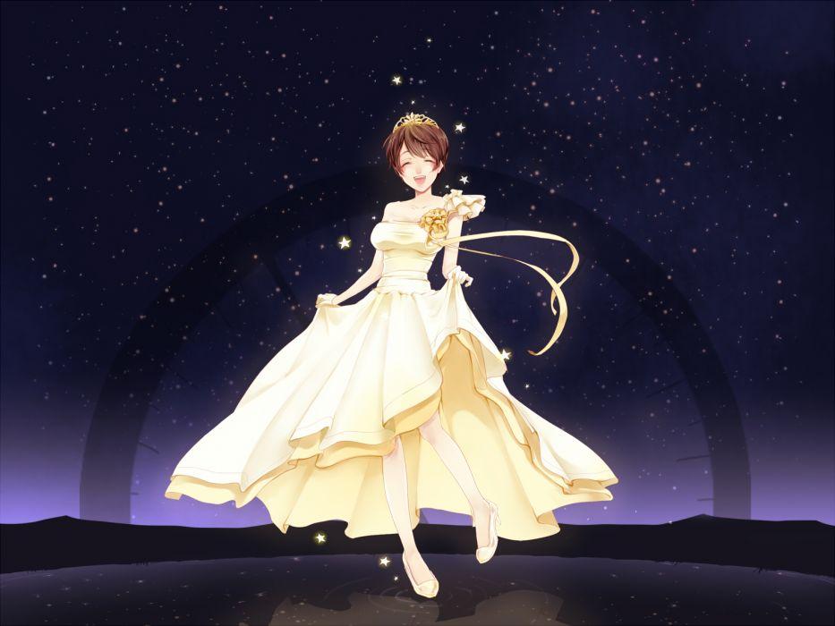 idolmaster brown hair dress gloves harureya idolmaster idolmaster cinderella girls oikawa shizuku short hair stars tiara wallpaper
