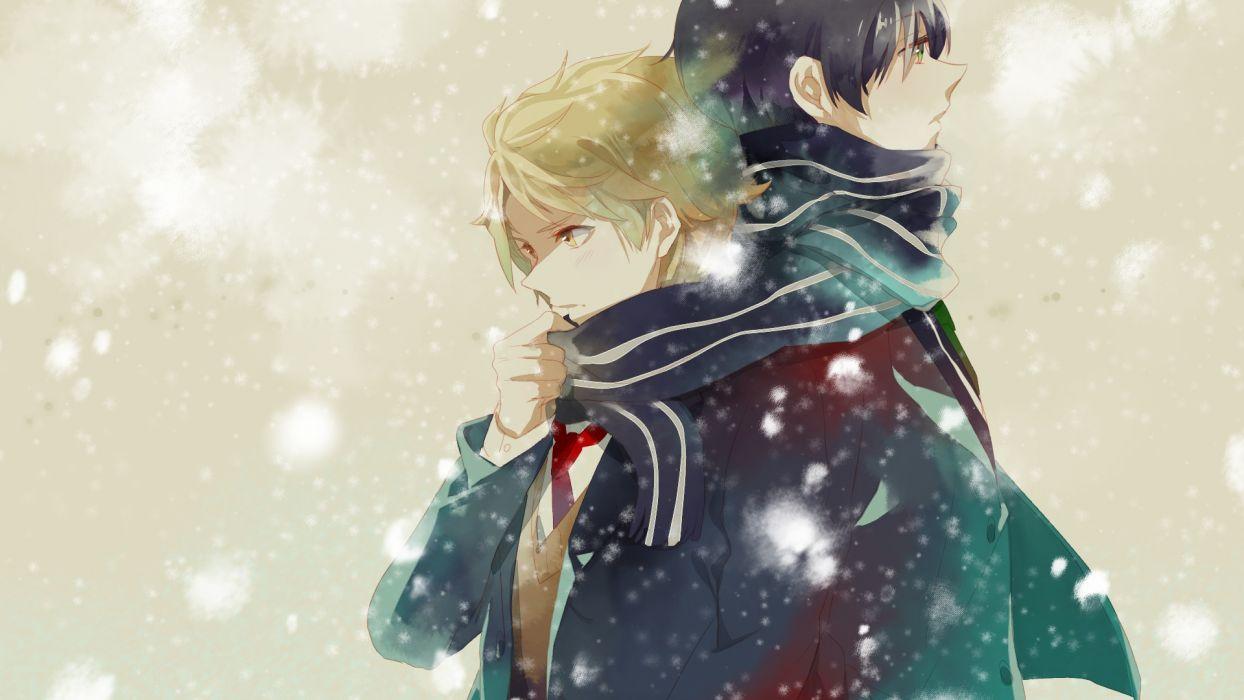 kyoukai no kanata kanbara akihito kyoukai no kanata male nase hiroomi scarf snow yukinokoe wallpaper