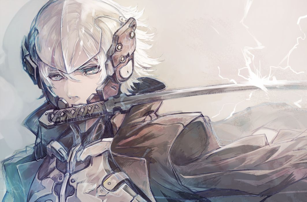 metal gear solid gray gray eyes metal gear solid raiden senano-yu short hair sword weapon white hair wallpaper