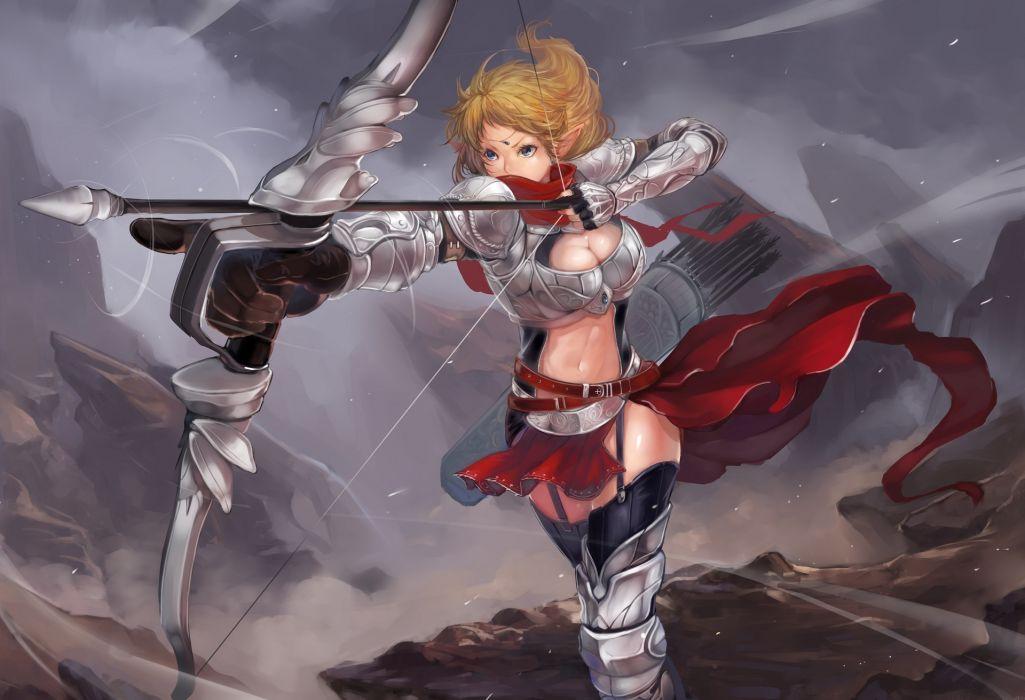 original armor blonde hair blue eyes bow (weapon) cleavage garter belt gloves original pointed ears scarf short hair sola7764 weapon wallpaper