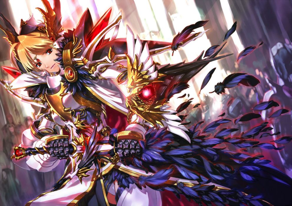 original armor blonde hair feathers jian huang original red eyes sword weapon wallpaper