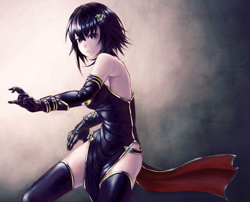 original black eyes black hair chinese dress elbow gloves mstm original short hair sideboob thighhighs wallpaper