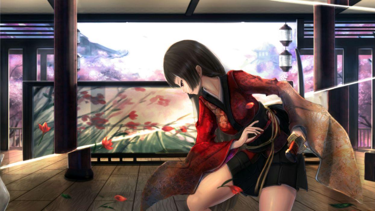original black hair building cherry blossoms flowers japanese clothes katana kikivi long hair original petals red eyes skirt sword weapon wallpaper