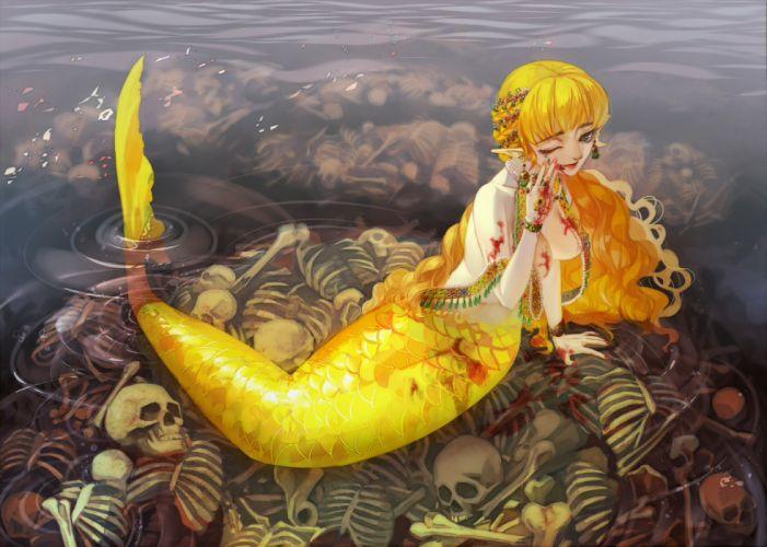 original blonde hair blood bones buming cleavage long hair mermaid original pointed ears skull water wink wallpaper