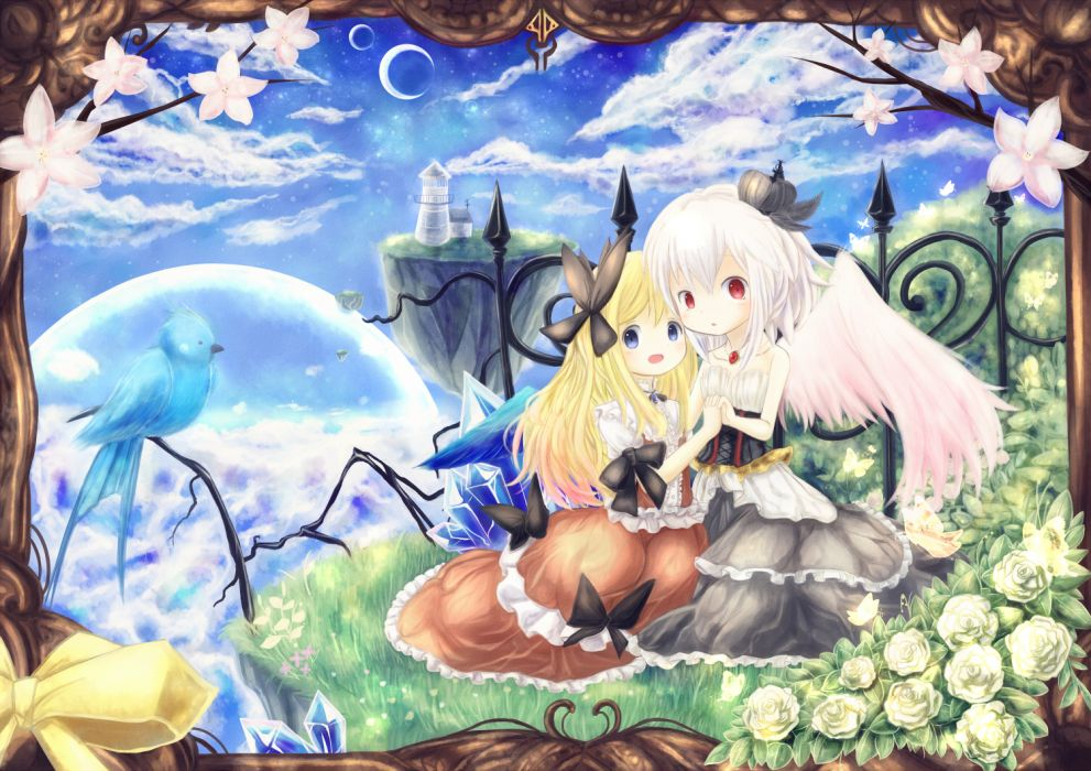 original girls animal bird blonde hair blue eyes dress flowers grass moon original red eyes runathito short hair white hair wings wallpaper