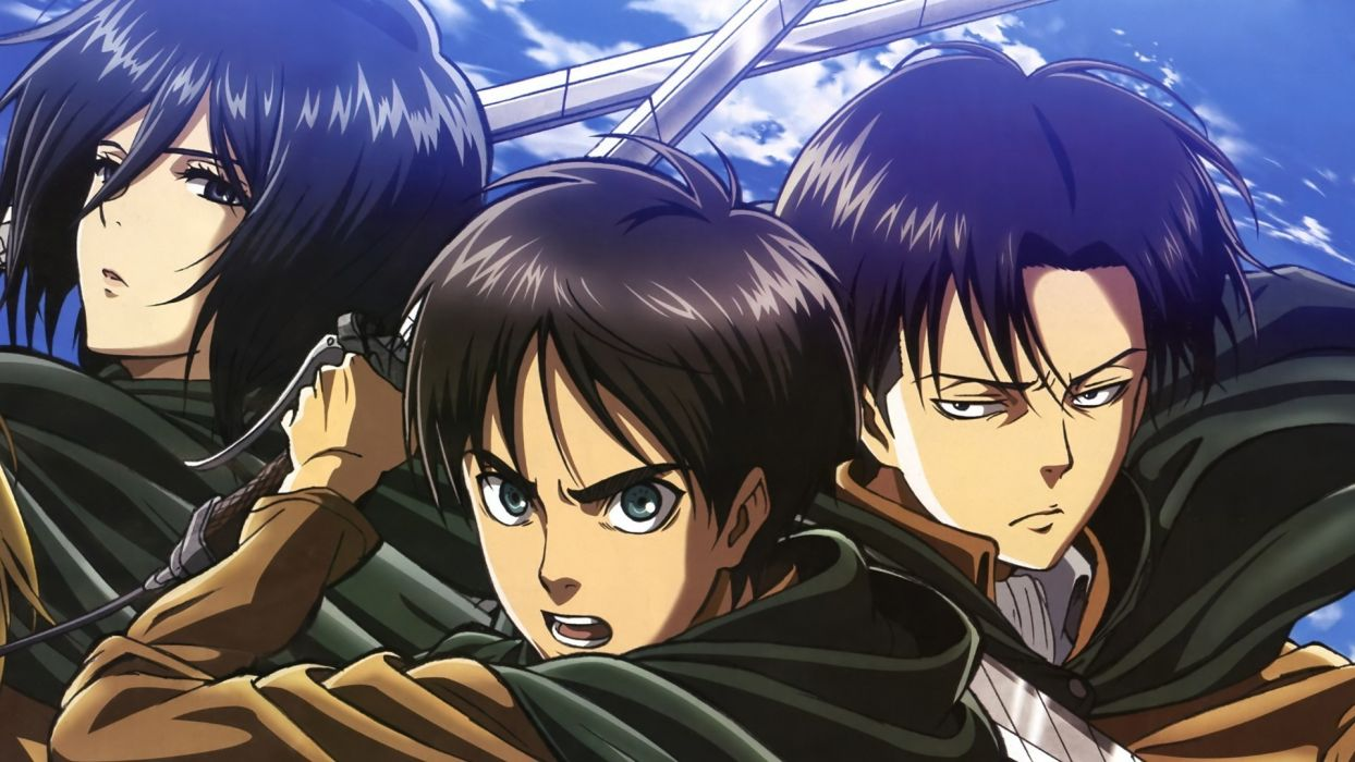 shingeki no kyojin cape eren jaeger mikasa ackerman rivaille shingeki no kyojin short hair sword uniform weapon wallpaper
