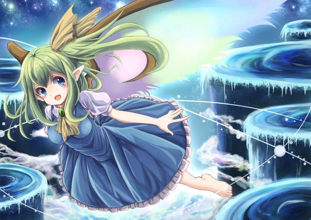 touhou barefoot blue eyes daiyousei dress green hair long hair pointed ears ponytail runathito touhou wings wallpaper
