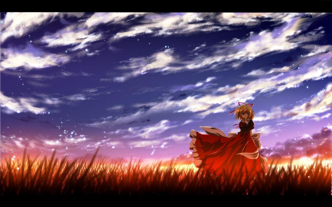 touhou blonde hair blue eyes bow clouds grass medicine melancholy nekominase short hair sky sunset touhou wallpaper