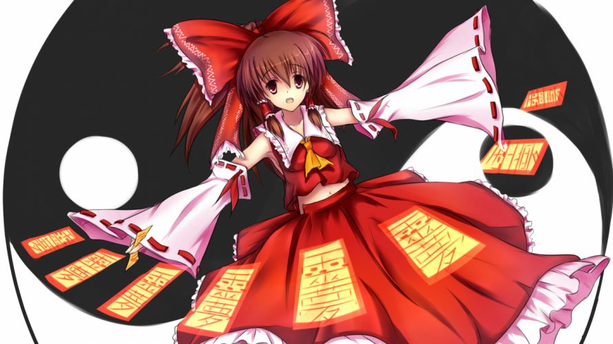 touhou bow brown eyes brown hair hakurei reimu haraguroi you japanese clothes long hair navel tie touhou twintails wallpaper