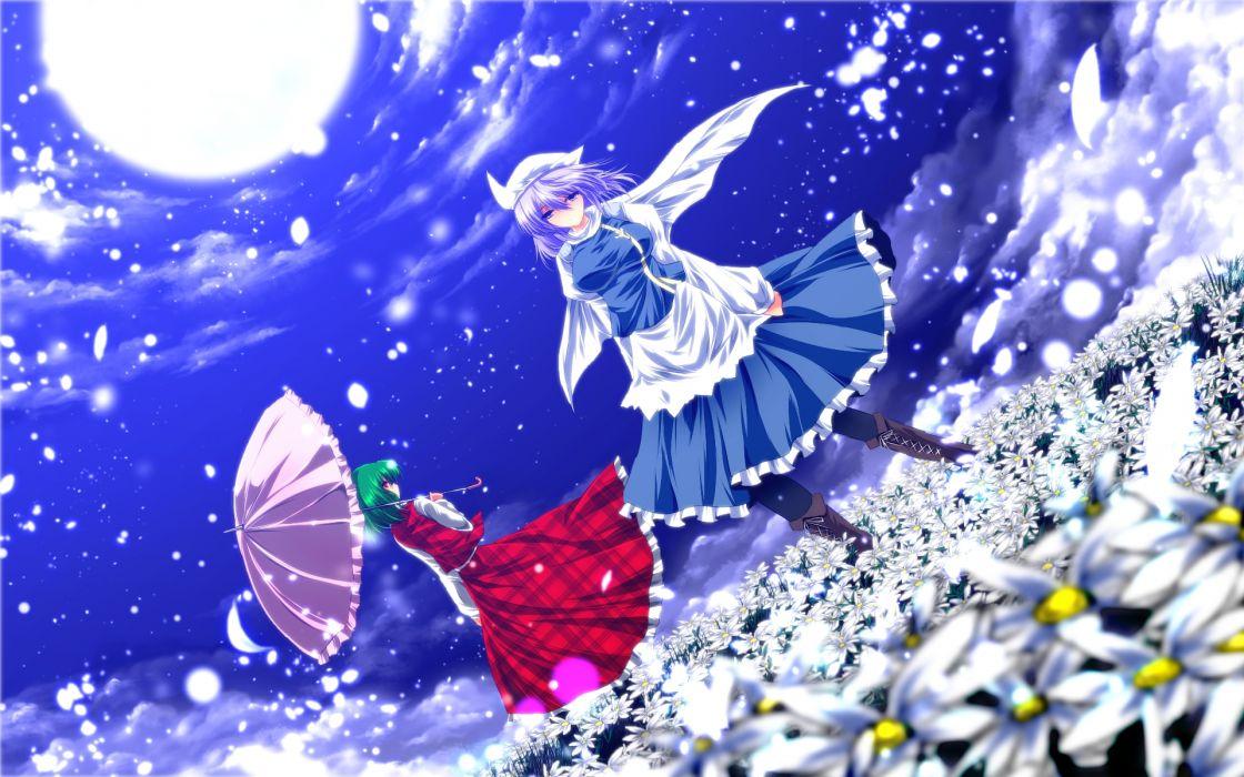 touhou girls apron blue eyes boots cape dress flowers green hair hat kazami yuuka moon nekominase purple hair red eyes short hair touhou umbrella wallpaper