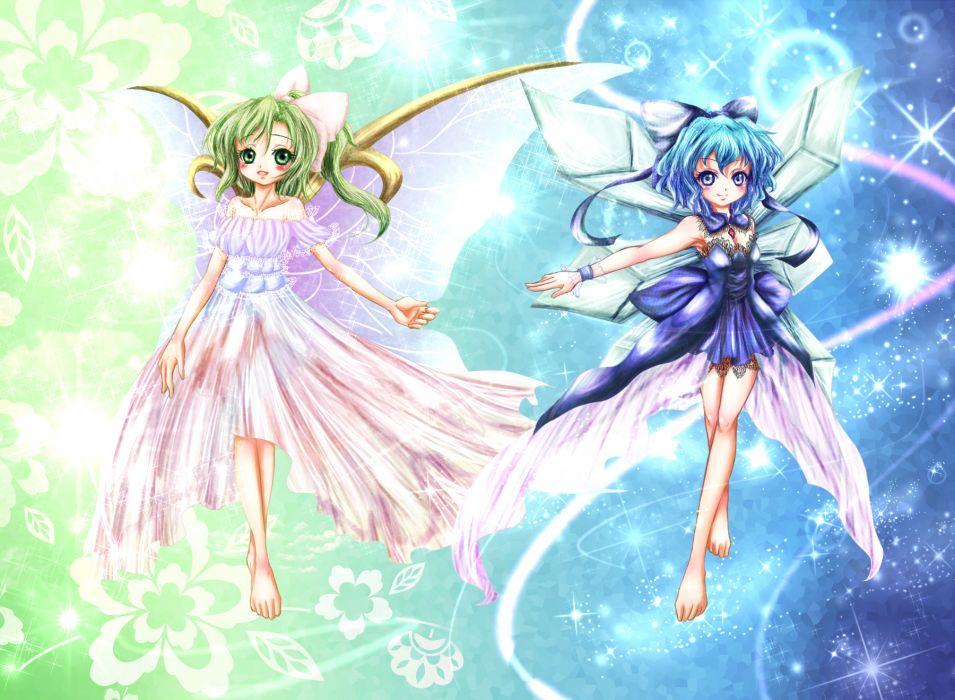 touhou girls barefoot blue eyes blue hair bow cirno dress fairy green eyes green hair runathito short hair tagme (character) touhou wings wallpaper