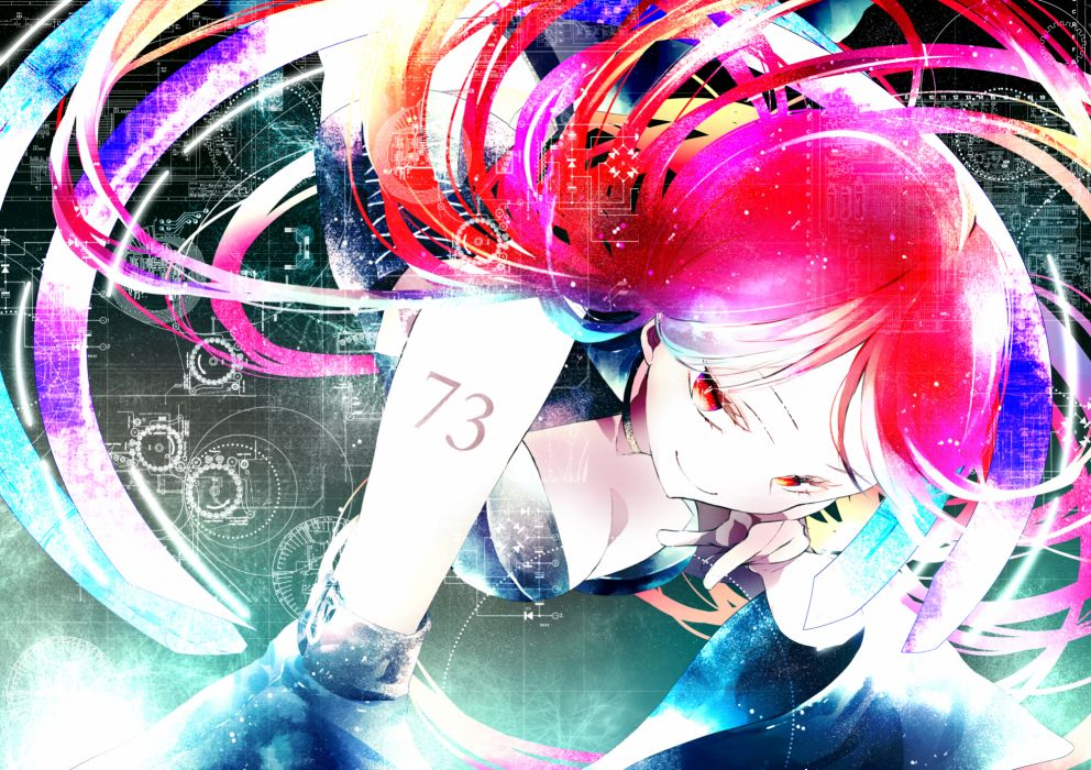 utau amakura (islit) cleavage long hair namine ritsu red eyes red hair utau wallpaper