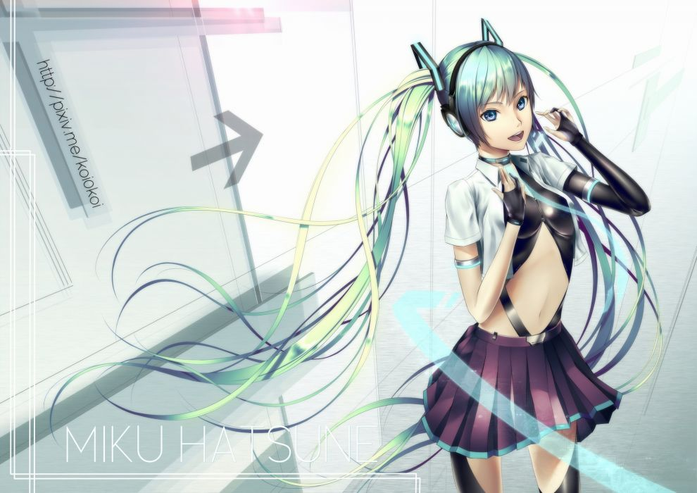 vocaloid aqua hair blue eyes collar gloves hatsune miku headphones long hair navel oki (koi0koi) skirt twintails vocaloid watermark wallpaper