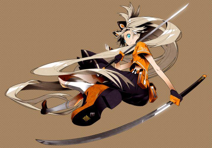 vocaloid blonde hair blue eyes katana kimdazzi kneehighs long hair seeu skirt sword vocaloid weapon wallpaper