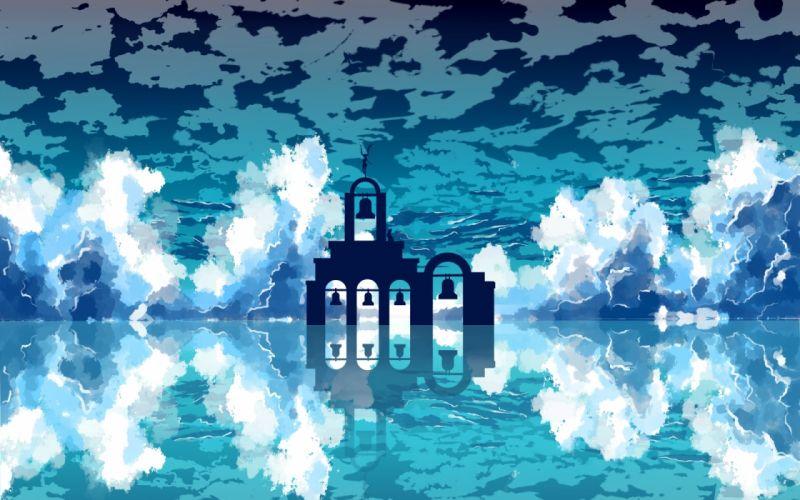 vocaloid blue clouds hatsune miku langjiao long hair silhouette sky twintails vocaloid water wallpaper