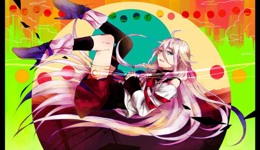 vocaloid blue eyes boots ia kouyama tomoki long hair pink hair skirt thighhighs vocaloid wallpaper