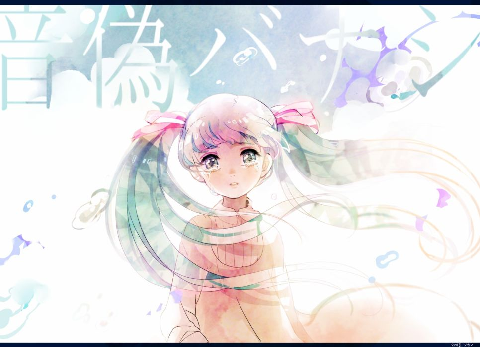 vocaloid mood crying hatsune miku long hair souno kazuki tears twintails vocaloid wallpaper