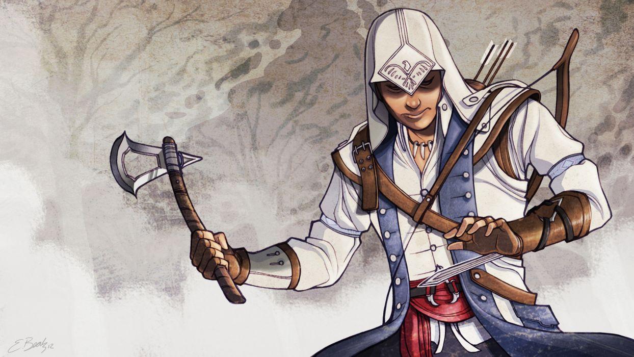 Assassins Creed 3 Warrior Battle axes Hood headgear Games fantasy wallpaper