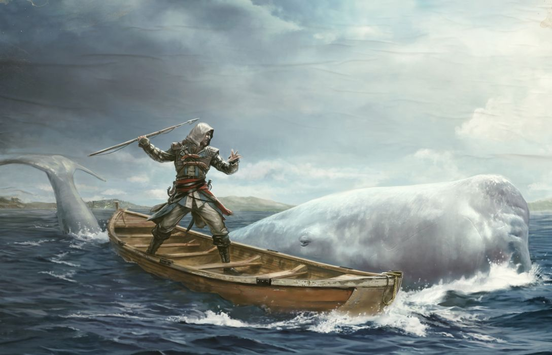 Assassins Creed 4 Black Flag Boats Warrior fantasy whale      g wallpaper