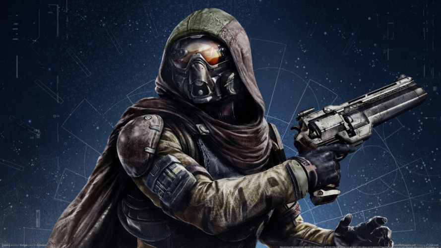 Destiny Pistols Warrior Revolver Hood headgear mask sci-fi weapon gun wallpaper