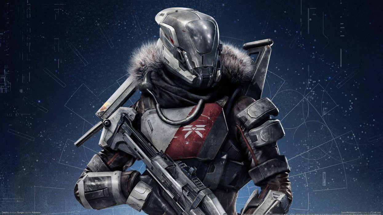 Destiny Warrior Armor sci-fi cyborg robot weapon gun wallpaper
