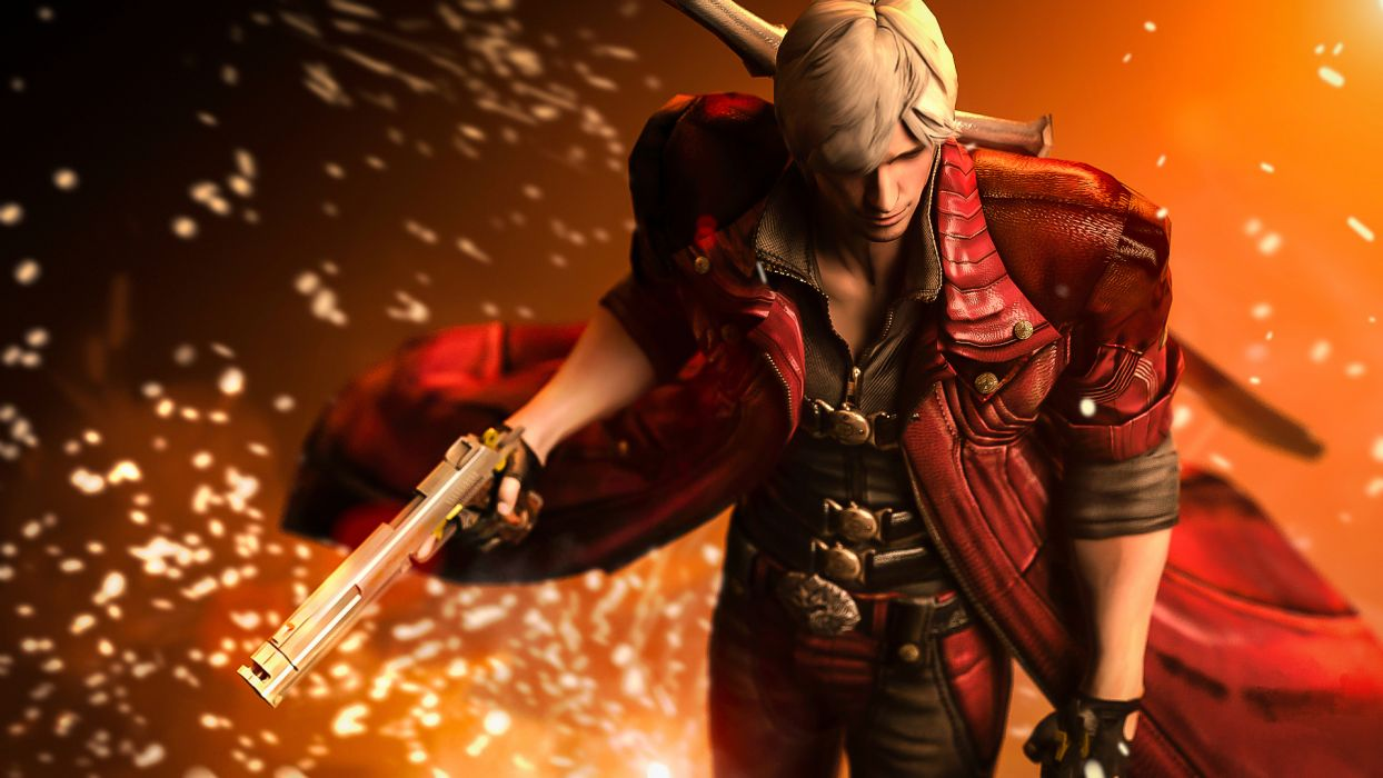 Devil May Cry 4 Men Dante Pistols Jacket Games warrior fantasy wallpaper