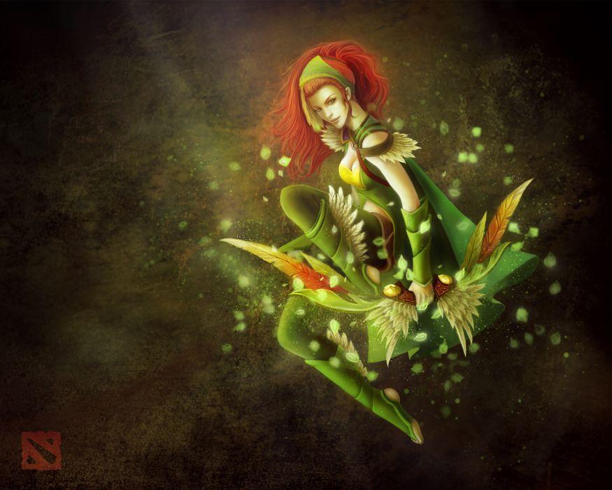 DOTA 2 Archer windrunner Redhead girl Games Fantasy Girls wallpaper