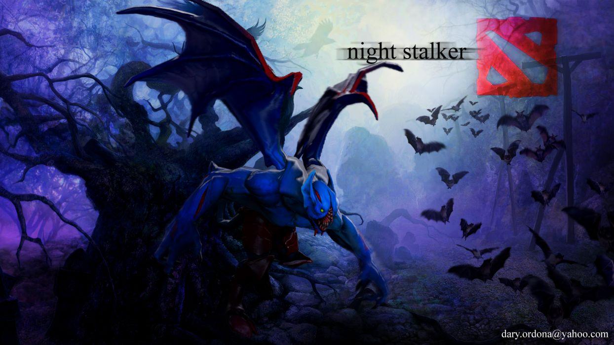 DOTA 2 Night stalker Bats Monsters Wing Games Fantasy dark       f wallpaper