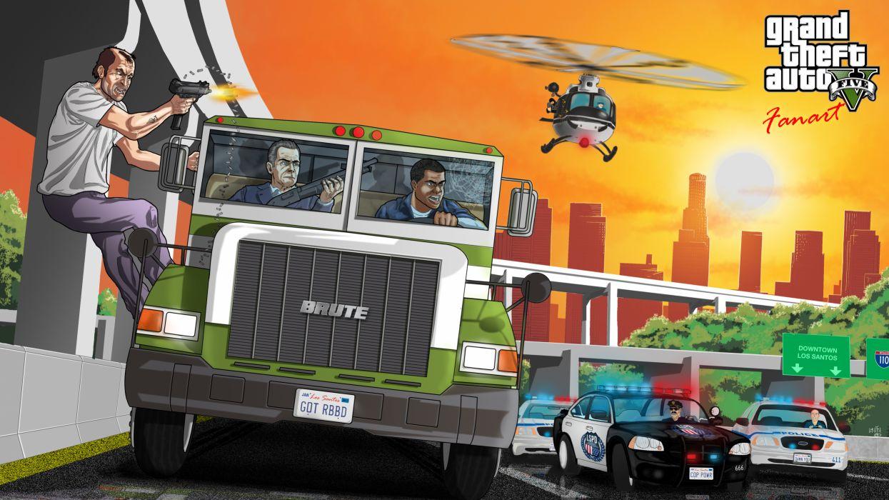Grand Theft Auto ( GTA ) GTA 5 Vector Graphics Trucks Games battle wallpaper