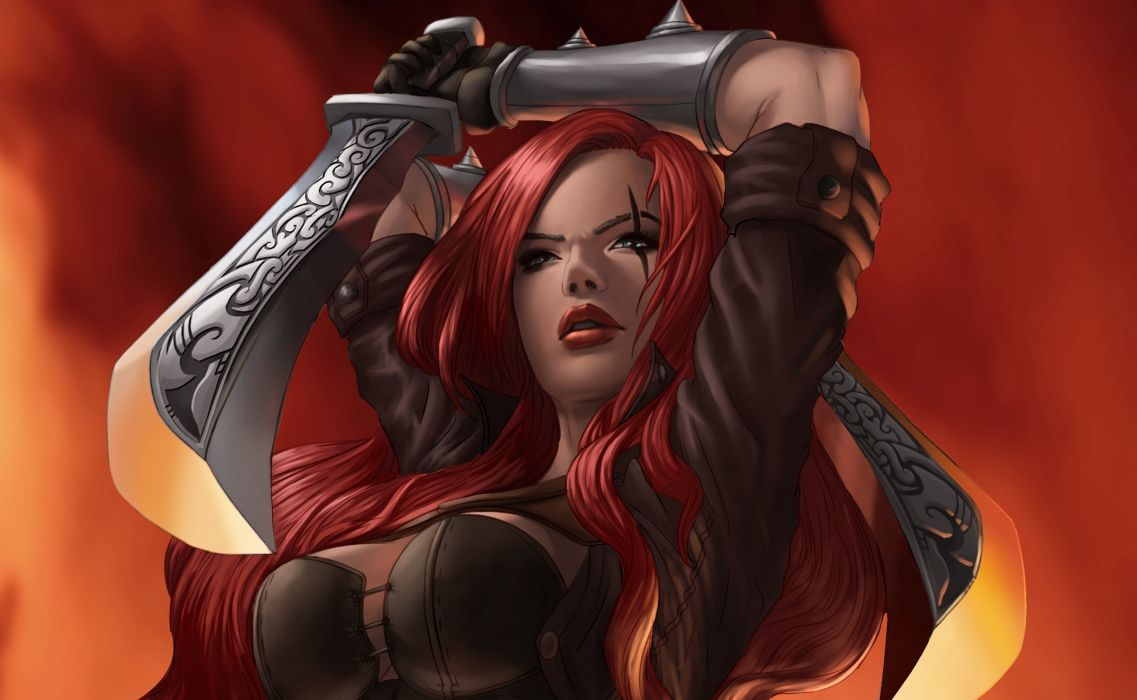 League of Legends Warrior katarina Redhead girl Swords Games Girls Fantasy wallpaper