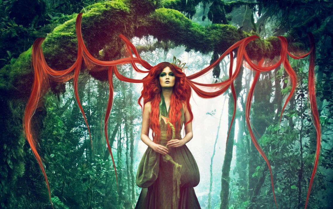 Magic Redhead girl Hair Fantasy Girls forest wallpaper