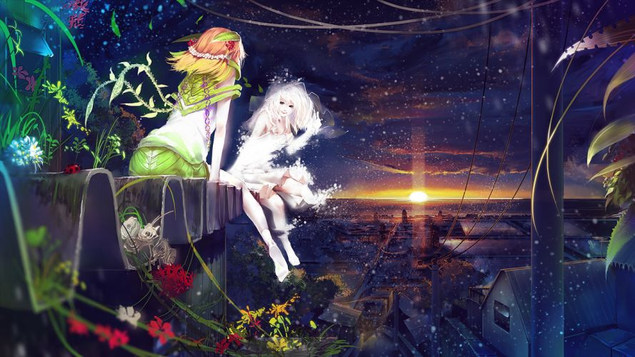 original Fantastic world Sunrises and sunsets Anime Girls wallpaper