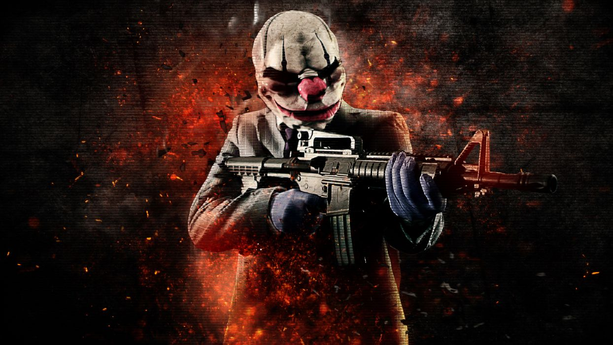 Payday 2 Warrior Assault rifle Rifles Mask weapon gun dark     g wallpaper