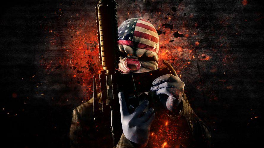 Payday 2 Warrior Assault rifle Rifles Mask weapon gun dark k wallpaper