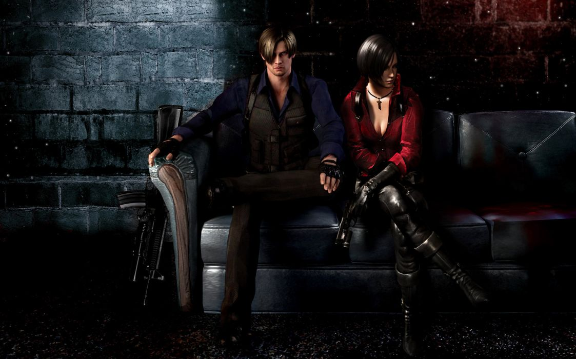 Resident Evil 6 Men Ada Wong Leon S Kennedy Sofa Two Games Girls
