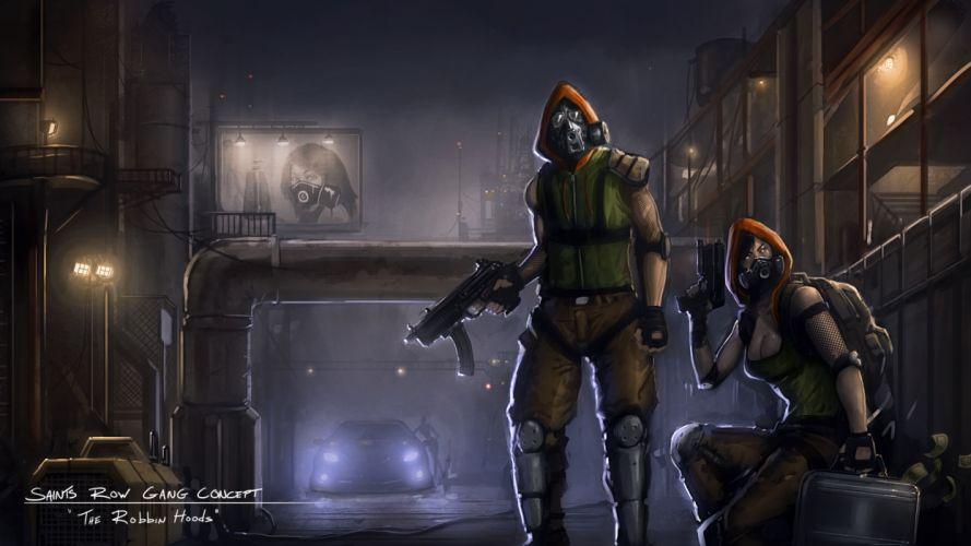 Saints Row Warrior Games gas mask dark wallpaper